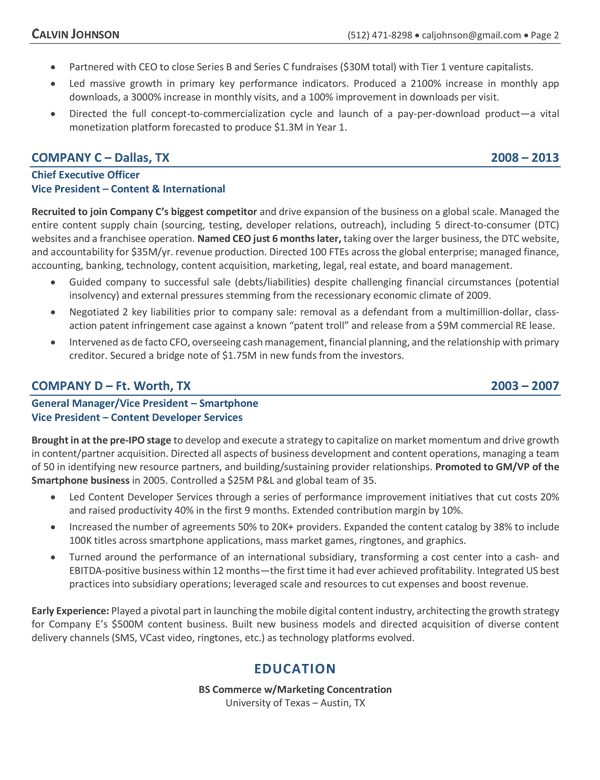CEO resume page 2