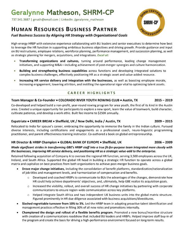 Human Resources Business Partner resume