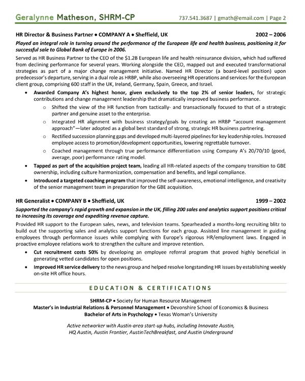 HR Business partner resume page 2